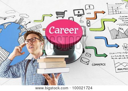The word career and geeky student holding a pile of books against pink push button