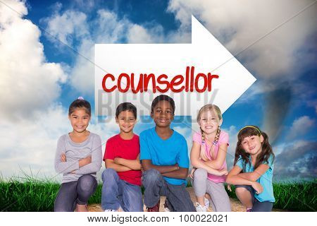 The word counsellor and elementary pupils smiling against road leading out to the horizon