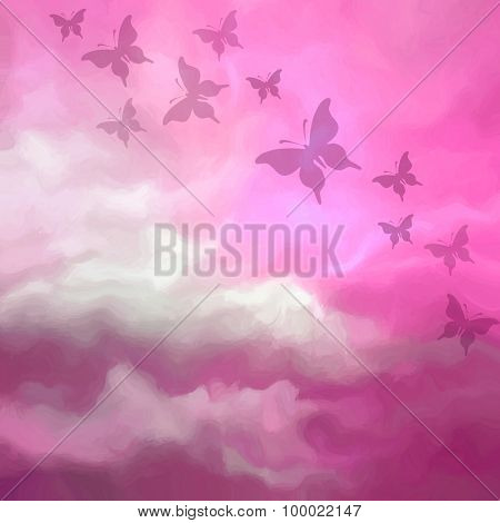 Beautiful Pink Sky Drawing With Butterflies