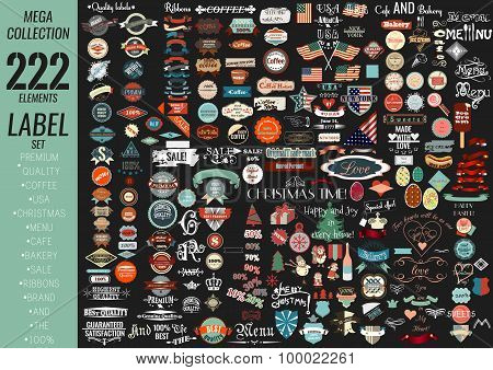Labels Set Premium Quality, Cafe, Bakery, Sale, Christmas, And, Coffee, Usa, Ribbons And Other