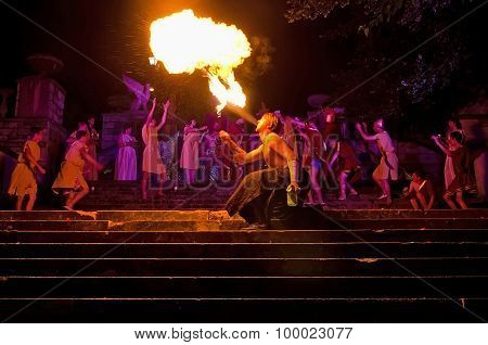 Fire Show During A Performance Of King Mithridates