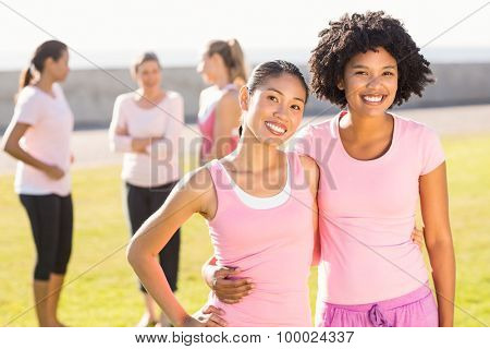 Portrait of smiling young women wearing pink for breast cancer in parkland