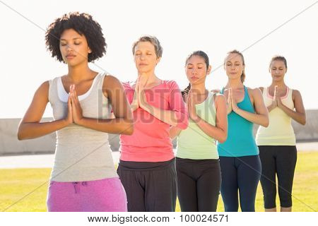 Peaceful sporty women doing prayer position in yoga class in parkland