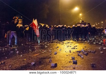 Protests During Polish Independence Day In Warsaw