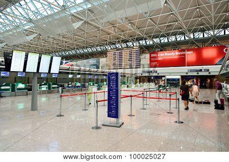 ROME, ITALY - AUGUST 04, 2015: Fiumicino Airport interior. Fiumicino - Leonardo da Vinci International Airport is a major international airport in Rome, Italy