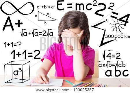 Cute pupil working at her desk against square roots