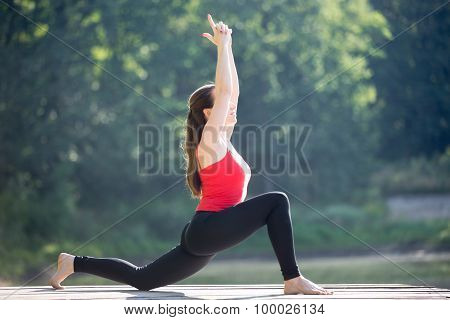 Teenage Girl Doing Anjaneyasana
