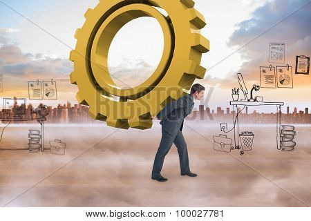 Businessman leaning over against blue sky