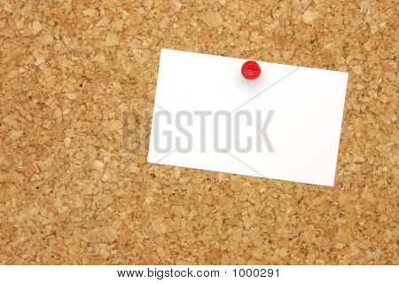 Blank Business Card On Corkboard