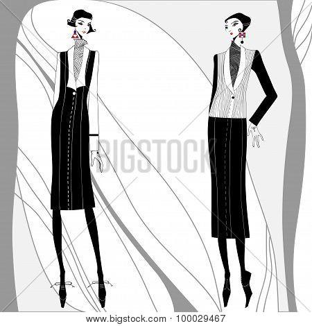 Vector romantic art deco women in coats.