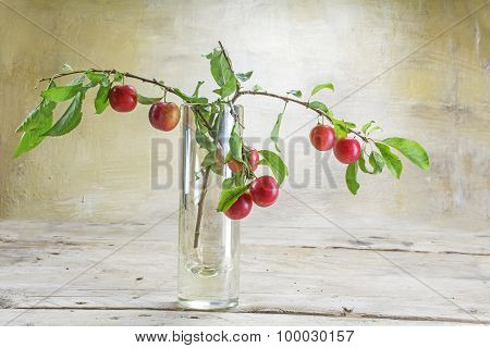Branch With Red Wild Plums In A  Vase On A Rustic Wooden Table