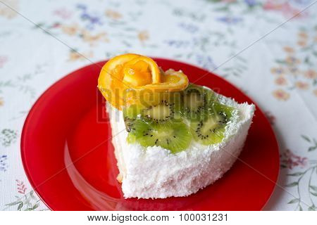 piece of cake with yogurt and fruit