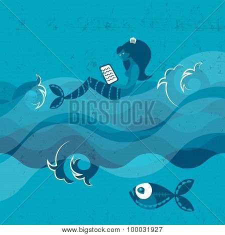 Fish And Mermaid Floating On Waves. Sea Concept.