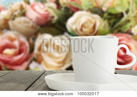 Coffee Cup To Put Down On The Terrace Wood And Blur Background O