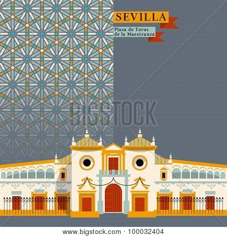Plaza De Toros De La Maestranza. Sights Of Seville. Andalusia, Spain, Europe.
