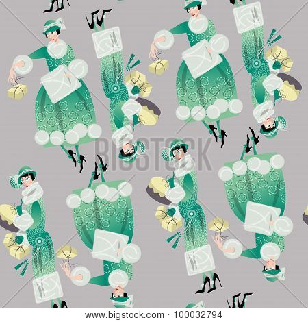 Winter. Woman Shopping. Retro Style. Art Deco. Seamless Background Pattern.