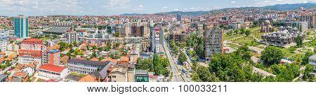 Pristina panorama aerial view