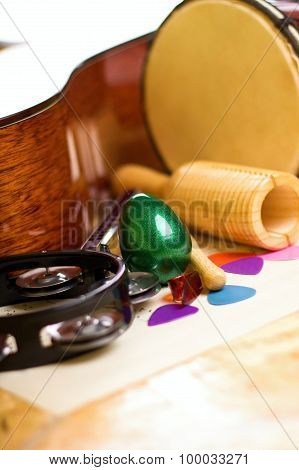 Green Egg Shaker Among Other Instruments