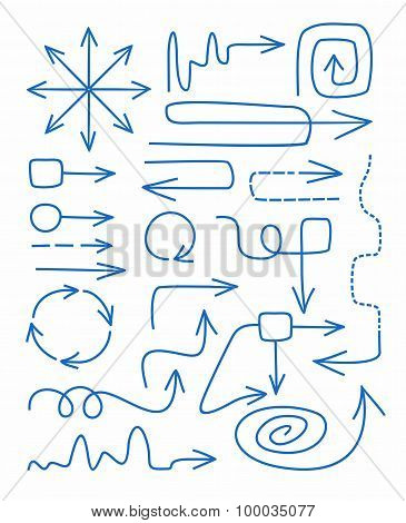 Arrows, Blue, Hand-drawn, Fin...