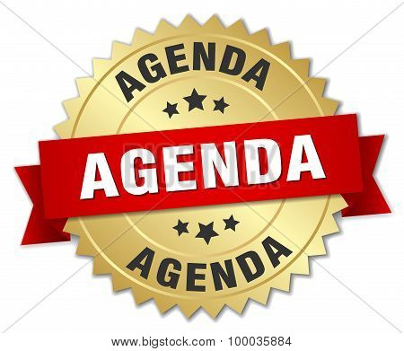 Agenda 3D Gold Badge With Red Ribbon