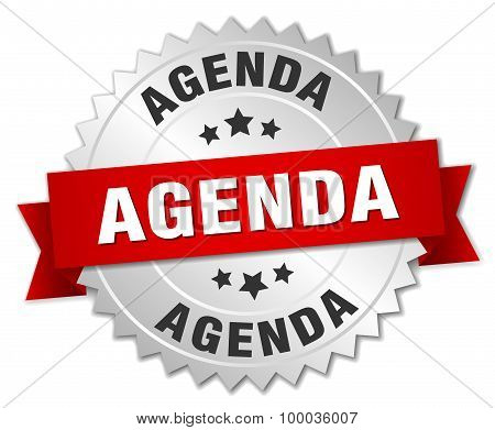 Agenda 3D Silver Badge With Red Ribbon