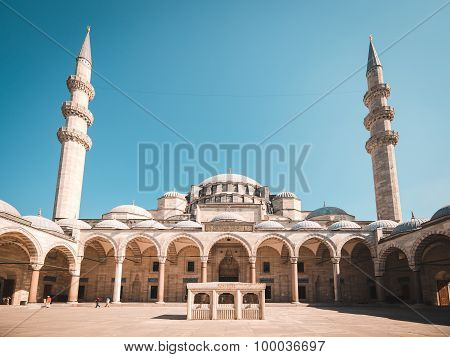 View of the majestic Suleiman Mosque patio, Istanbul, Turkey.