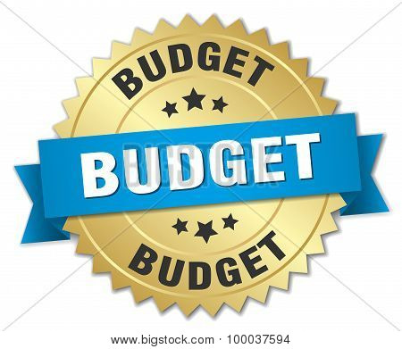 Budget 3D Gold Badge With Blue Ribbon