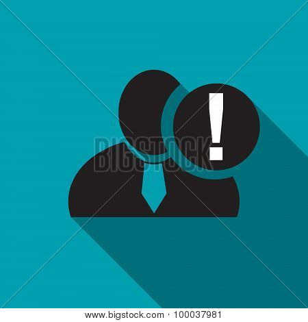 Exclamation Black Man Silhouette Icon On The Blue Background, Long Shadow Flat Design Icon For Forum