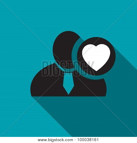 Heart Black Man Silhouette Icon On The Blue Background, Long Shadow Flat Design Icon For Forums Or W