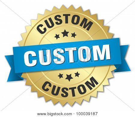 Custom 3D Gold Badge With Blue Ribbon