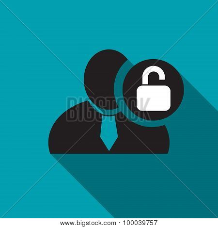 Unlock Black Man Silhouette Icon On The Blue Background, Long Shadow Flat Design Icon For Forums Or