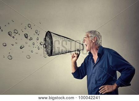 Man shouting into an imaginary megaphone