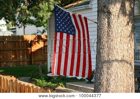 American flag in yard