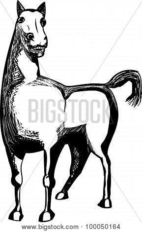 Outlined Horse Illustration
