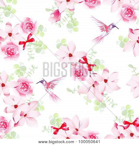Hummingbirds And Bunches With Magnolias And Roses Seamless Vector Pattern