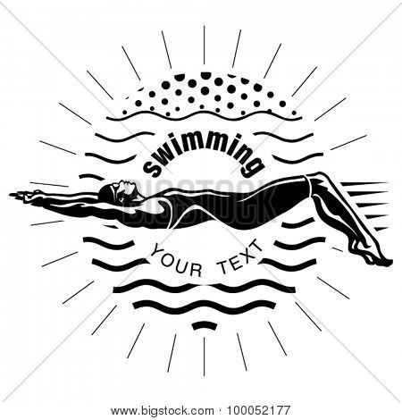 Female swimmer on the competition. Vector illustration in the engraving style
