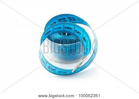Image blue measuring tape in a box, cm