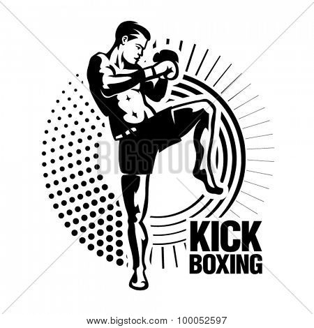 Kickboxer. Vector illustration in the engraving style