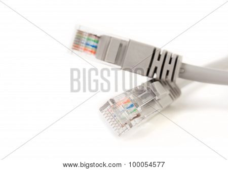 LAN cable / cord, CAT5E with RJ45 head for computer network connecting isolated on white background