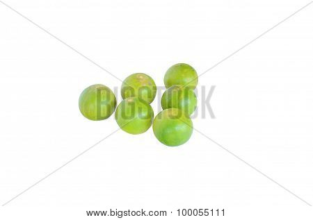 Isolated Scene Of Six Lemons And Decorate As Triangle With Withe Background