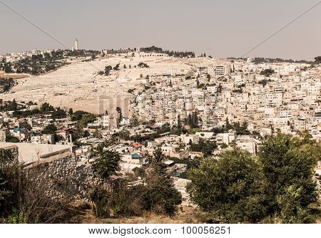 Panorama Overlooking The Old City Of Jerusalem, Israel, Including  The Mount Of Olives.