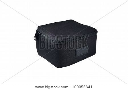 Isolate Scene Of Black Nylon Soft Box With White Background