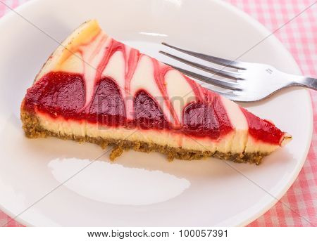 Strawberry Swirl Cheesecake - Overhead View
