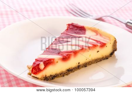 Strawberry Swirl Cheesecake - Closeup