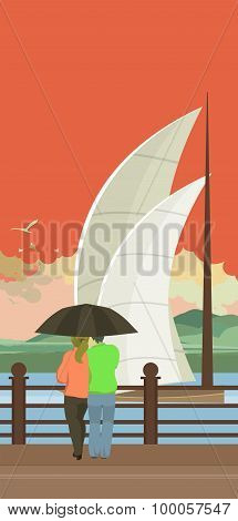 Lovers Under An Umbrella On The Pier