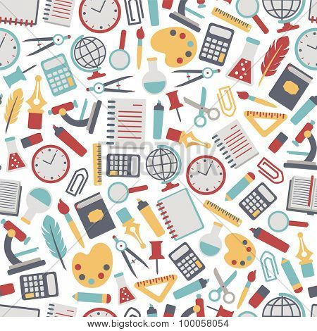 seamless background with colorful school icons. isolated on white