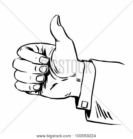 Gesture everything is fine thumb up business concept hitchhiking