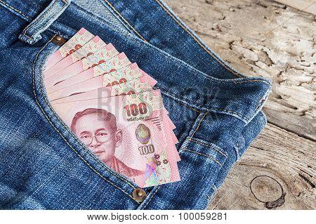 Thai Money Banknote In Denim Jean's Pocket