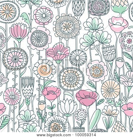 vector seamless pastel color floral pattern