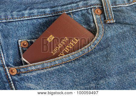 Thailand Passport In Denim Jean's Pocket